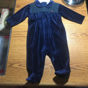 Ralph Lauren blue soft footed sleeper 3-6M NWT